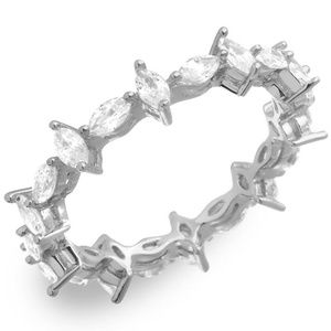 Sterling Silver Rhodium Plated Eternity Ring Band
